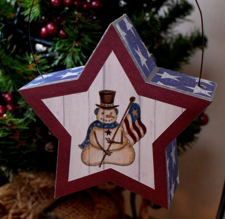 Patriotic Snowman Ornament zDSC 4018